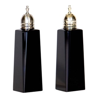 Black Glass Salt & Pepper Shakers