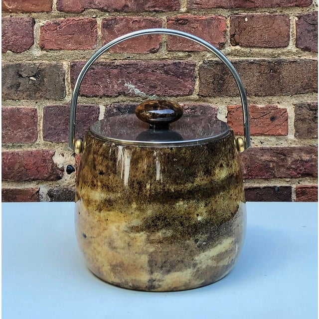 Metal C.1950 Italian Aldo Tura Brown Goatskin and Brass Plate Ice Bucket For Sale - Image 7 of 12