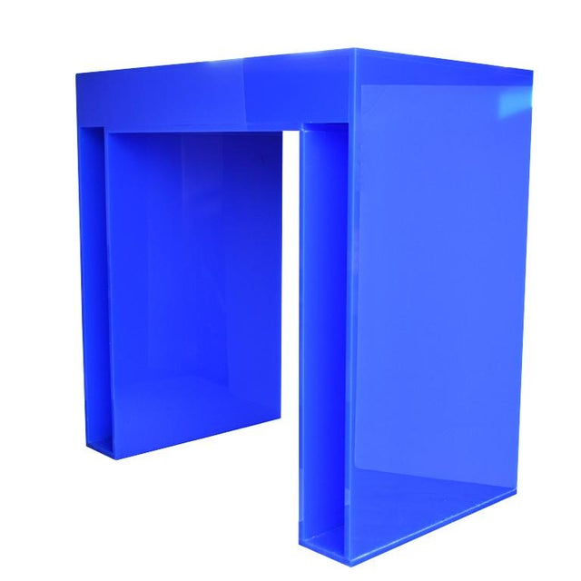 Memphis Style acrylic desk in bright blue. A bright blue desk, credenza or console table for the Maximalist Memphis Style...