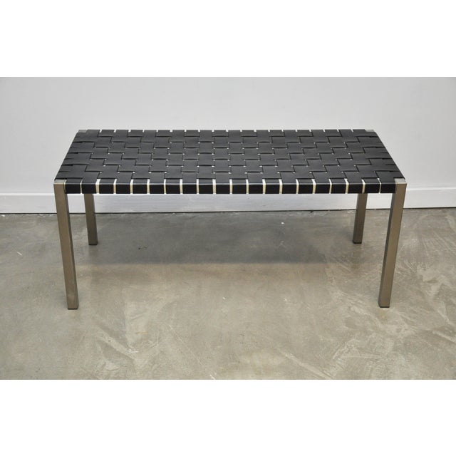 Mid-Century Modern Pair of Steel and Leather Strap Benches For Sale - Image 3 of 10