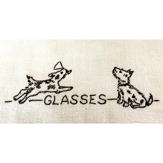 Antique Shabby Chic Linen Embroidered Dish Towels, Set 4 For Sale - Image 4 of 7