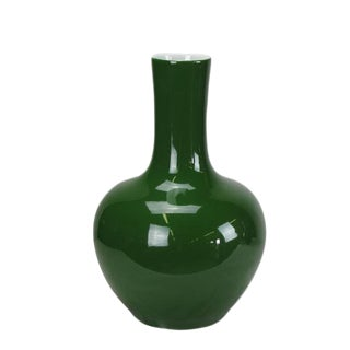 Asian Modern Dark Green Long Neck Porcelain Vase