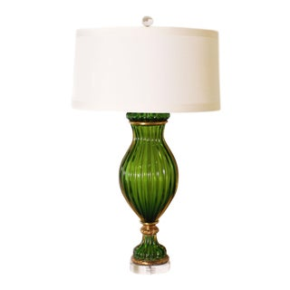 Green Marbro Murano Glass Lamp by Seguso , C. 1960 For Sale