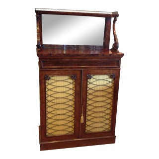 Antique English 2 Door Storage Cabinet with Brass Accents For Sale