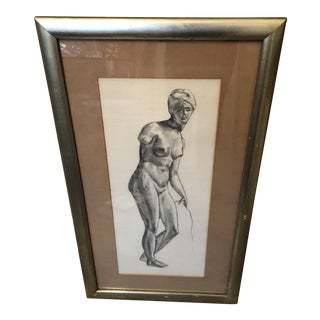 1980s Greek Goddess Nude Pencil Sketch, Framed For Sale