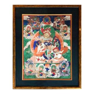 Framed Tibetan Thangka Vaisravana Jambhala For Sale