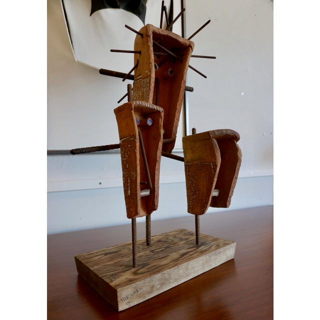 Hal Riegger Figurative Abstract Ceramic and Steel Sculpture For Sale - Image 4 of 9