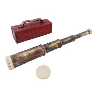 Vintage Maritime Brass Dolland London 1920 Telescope With Lid in Leather Cover For Sale