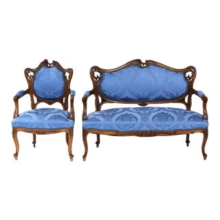 Early 20th Century French Mahogany Framed Seating Two-Piece Set - a Pair For Sale