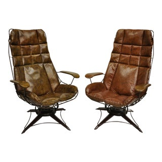 Vintage Mid Century Homecrest Brown Vinyl Iron Wire Patio Lounge Chairs- A Pair For Sale