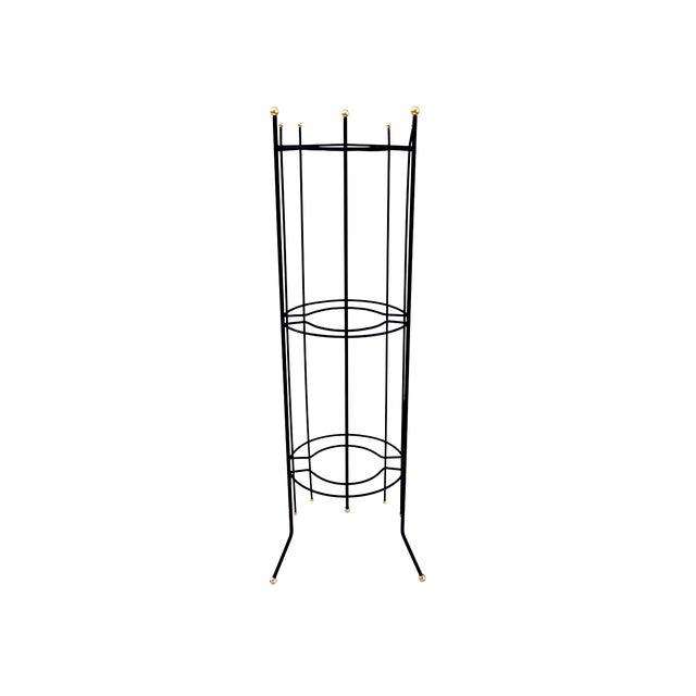 Mid-Century Atomic Era 3-Tier Metal Plant Stand ||Retro/Industrial Chic Black & Gold Tri-Level Vertical Tall Planter Stand || Sputnik Design For Sale