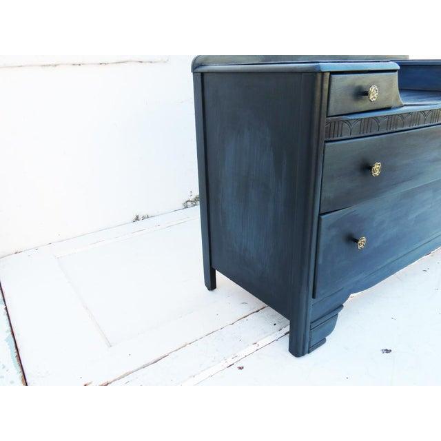 Vintage 1940's Dark Gray / Midnight Vanity Dresser & Mirror - Image 5 of 5