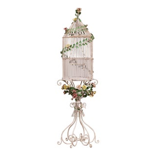 Early 20th Century French Art Nouveau Painted Birdcage on Stand For Sale