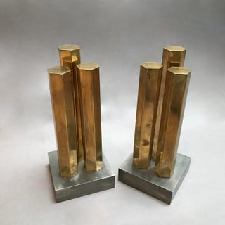 Modernist Architectural Brass and Steel Andirons - a Pair Preview