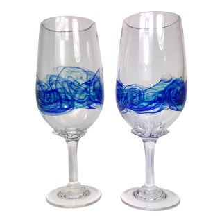 20th Century Hand Blown Water/Wine Goblets - a Pair For Sale