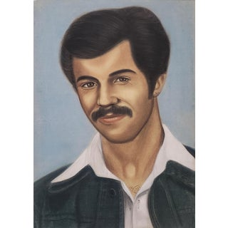 Pastel Portrait Painting of the Artist Mohammad Hourian as a Young Man C.1970s For Sale