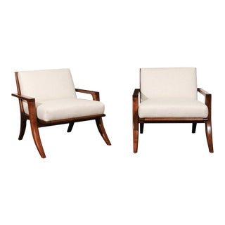 Breathtaking Restored Pair of Custom Klismos Loungers in Black Walnut