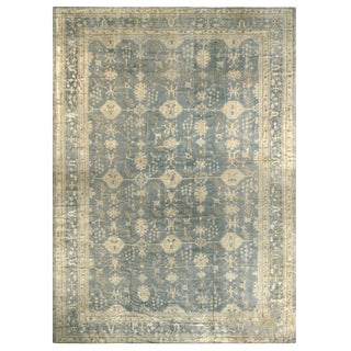 Antique Oushak Stone Blue and Tan Wool Rug For Sale