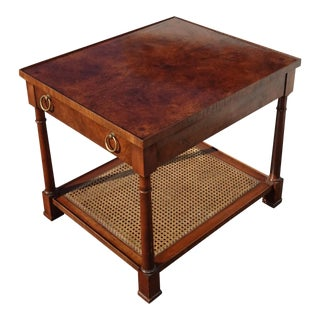 Vintage French Country Burlwood End Table Side Table W Cane Shelf by Hekman For Sale