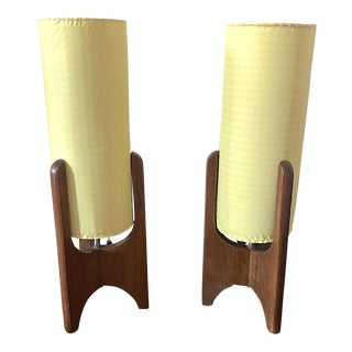 Mid-Century Teak Scandinavian Lamps - A Pair For Sale