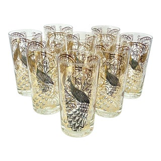 Mid Century Modern Fred Press 22 K Gold High Ball Glasses With Peacock Motif - Set of 8 For Sale
