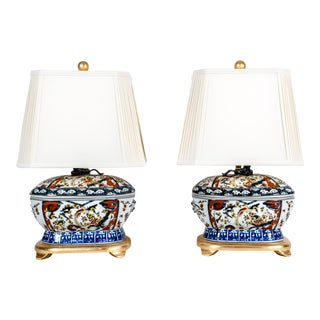 French Late 20th Century Porcelain Table Lamps - a Pair For Sale