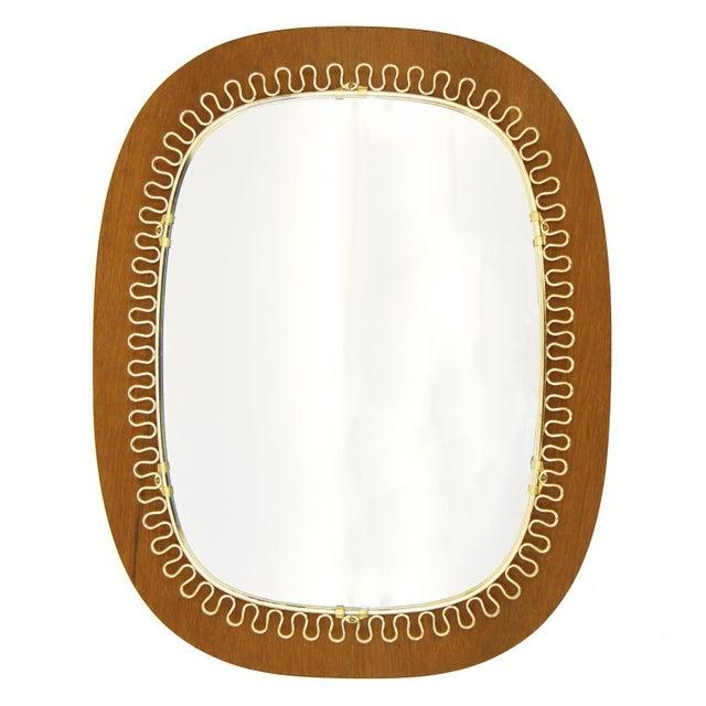 Brass Josef Frank Brass and Teak Mirror, circa 1960 For Sale - Image 7 of 9