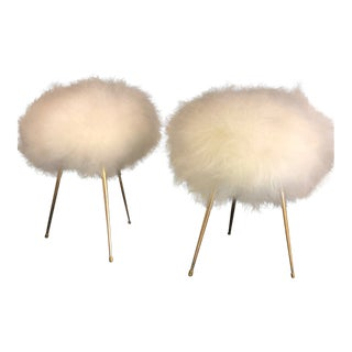 Mid-Century Modern French Poufs (Stools) , With Gold Tripod Slim Flared Legs and Icelandic Sheep Wool Upholstery For Sale