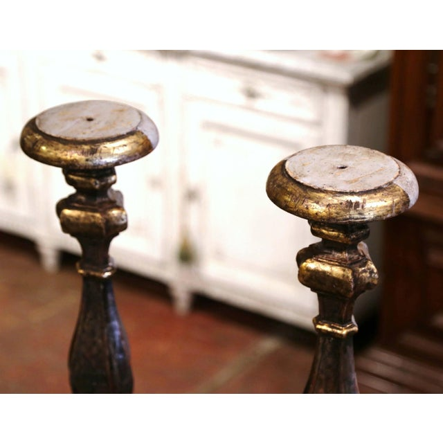Late 19th Century 19th Century Italian Carved Two-Tone Giltwood Cathedral Candlesticks - a Pair For Sale - Image 5 of 13