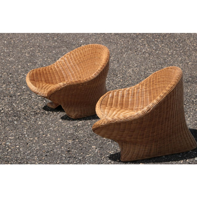Wicker Low Lounge Chairs - a Pair For Sale In Madison - Image 6 of 13