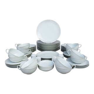 Arzberg White Porcelain Dinnerware - 68 Pieces For Sale