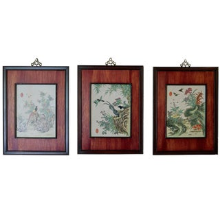 Vintage Mid-Century Chinese Painted Plaques - Set of 3 For Sale