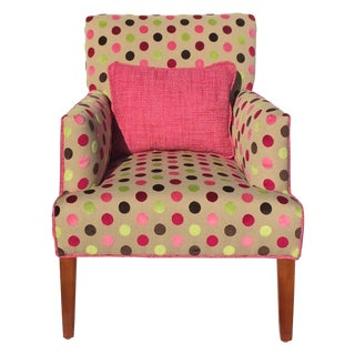 Newly Upholstered Chenille Polka Dot Upholstered Chair For Sale