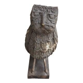 Vintage Folk Art Carved Wood Owl Decoy For Sale