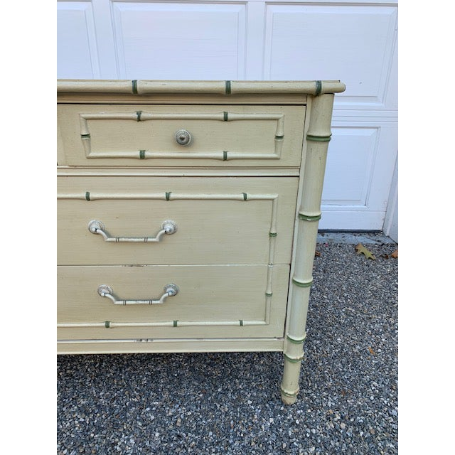 Quality, Sturdy Allegro by Thomasville faux bamboo dresser. Original Pale yellow paint with green bamboo detailing,...