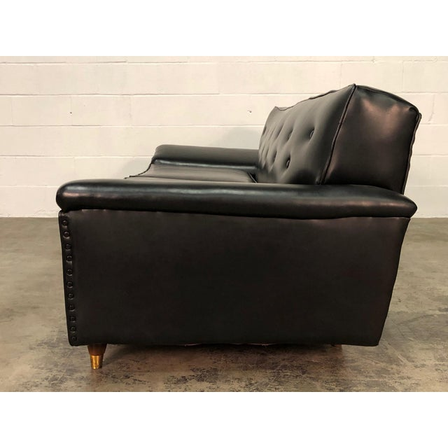 Black Mid Century Modern Sofas: Awesome Mid-Century Modern Black Naugahyde Sofa