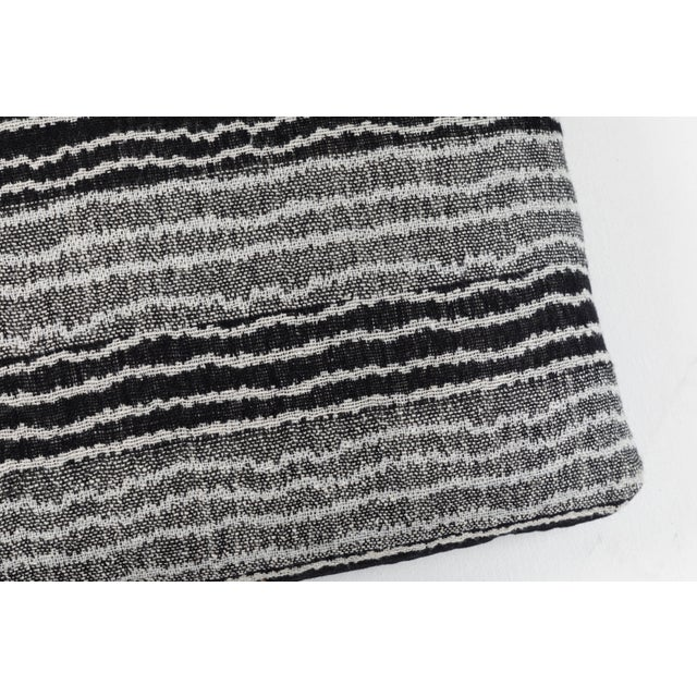 Contemporary Indian Handwoven Pillow Sm. Ocean Stripe Blk/Wht For Sale - Image 3 of 5