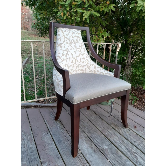 Item offered is a Fairfield Caldwell Occasional Chair with a gray tone fabric vinyl seat and a beige on creamy white...