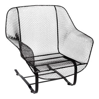 """1950s Russell Woodard Black """"Sculptura"""" Spring Lounge Armchair For Sale"""