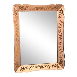 Art Deco Era Rectangular Etched Venetian Mirror For Sale