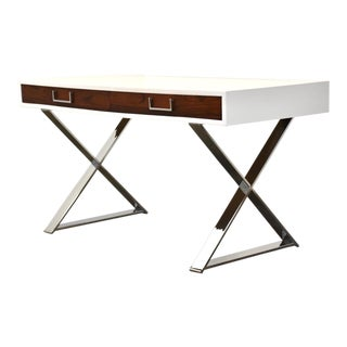 Rosewood and White Chrome Desk by Milo Baughman For Sale