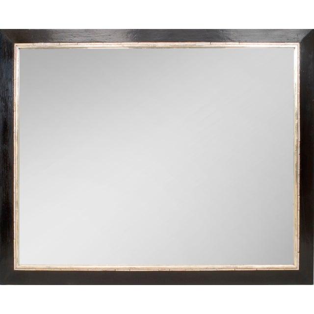 Art Deco Art Deco (Austrian) Large Ebonized Rectangular Bevelled Glass Mirror For Sale - Image 3 of 3