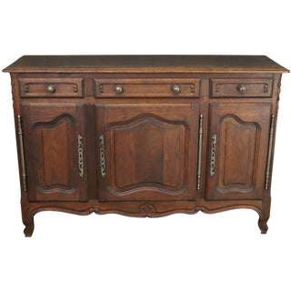 Sideboard Louis XV Rococo Vintage French 1950 Oak For Sale