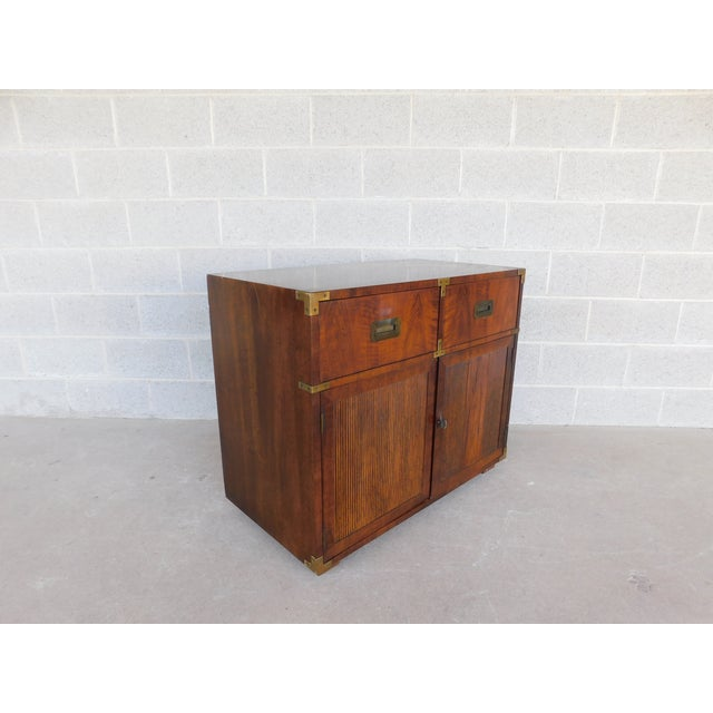 """Campaign Henredon Campaign Style 2 Drawer 2 Door Chest 30""""h X 36""""w For Sale - Image 3 of 10"""