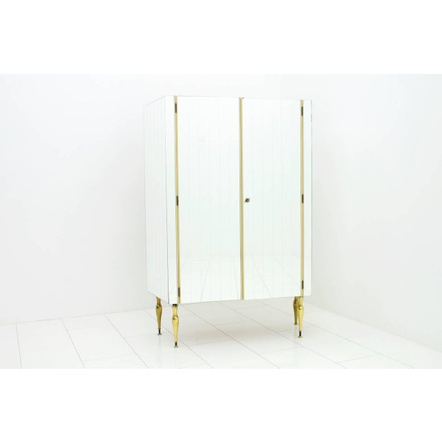 White Fully Front Mirrored Asymmetric Wardrobe With Brass Legs, Germany 1960s For Sale - Image 8 of 8
