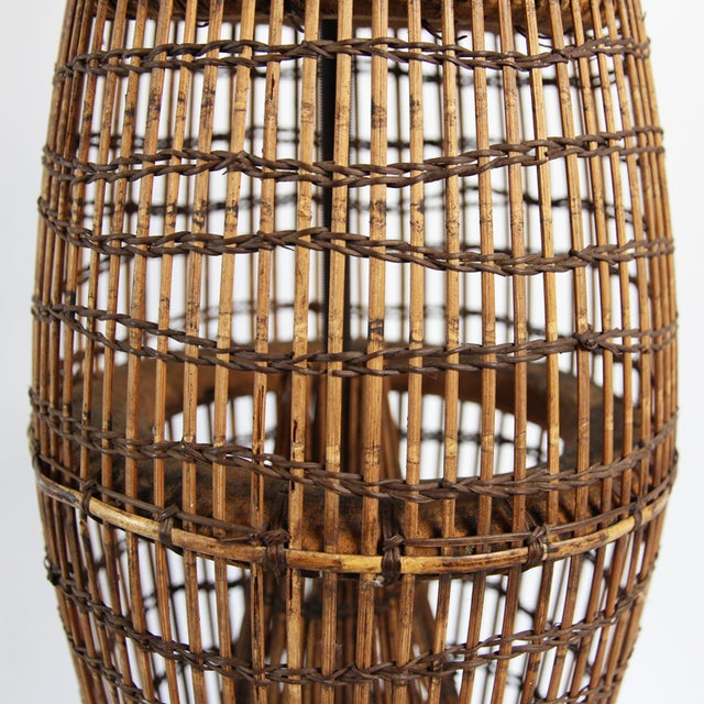Vintage Bamboo Fish Trap Table Lamp - Image 2 of 3