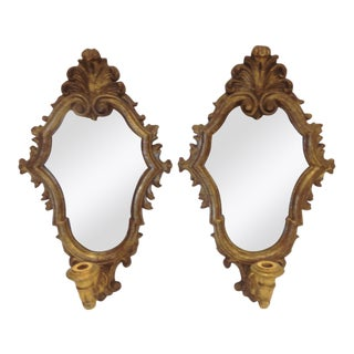 Italian Mirrored Sconces - a Pair For Sale