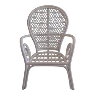 Vintage White Palm Beach Regency Rattan Peacock Chair