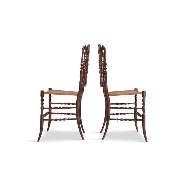 French Chiavari Cherrywood & Wicker Dining Chairs After Giuseppe Gaetano Descales For Sale - Image 3 of 12