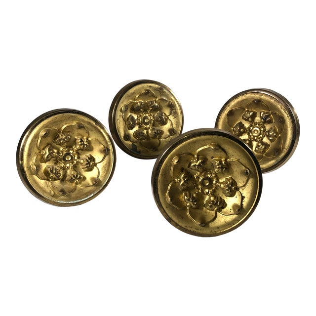 Early 19th Century American Federal Period Gilt Spun Brass Tiebacks - Set of 4 For Sale